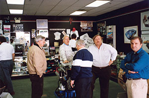 Visitors who stopped by the Annex would often get the chance to chat with Foundation representatives and Corvette Assembly plant volunteers. On this day, Paul Schnoes (second from left, followed by) Ray Battaglini and Dan Gale were on hand to answer questions.