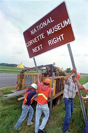 National Corvette Museum Brown Sign Raising