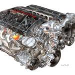 2008 LS3 6.2L V8 (LS3) for Chevrolet Corvette - David Kimble Illustration