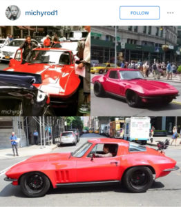 Michelle Rodriguez filming Fast and Furious 8 in a 1966 Corvette.